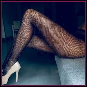 ❤NEW Sexy Bling Fishnet Open Crotch Stockings #W28